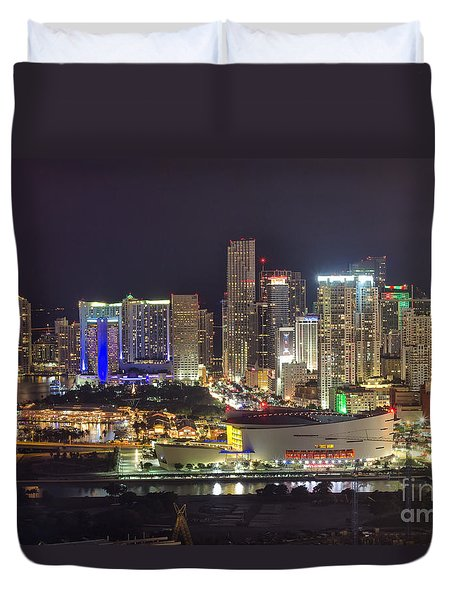 Miami Downtown Skyline American Airlines Arena Duvet Cover