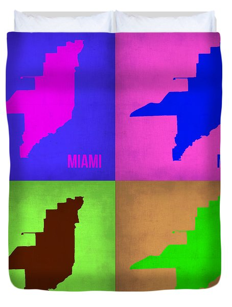 Miami Pop Art Map 1 Duvet Cover by Naxart Studio