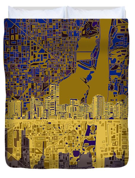 Miami Skyline Abstract 3 Duvet Cover