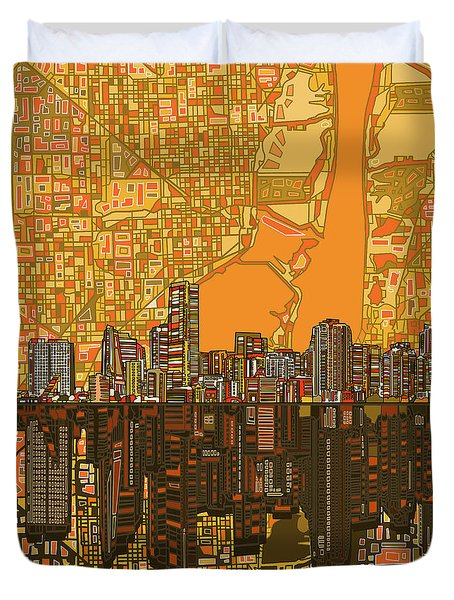 Miami Skyline Abstract 5 Duvet Cover