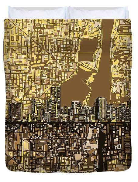 Miami Skyline Abstract 6 Duvet Cover