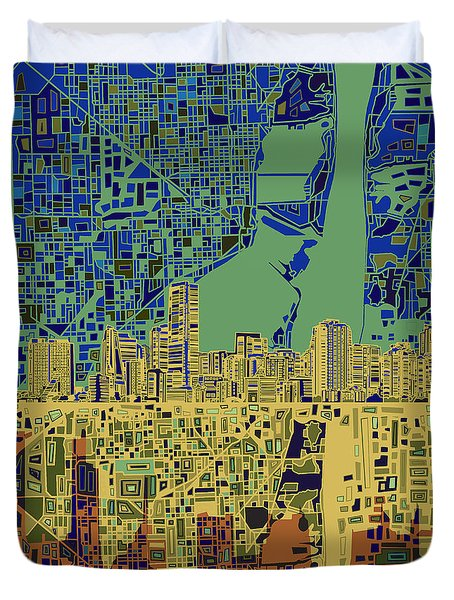Miami Skyline Abstract 7 Duvet Cover