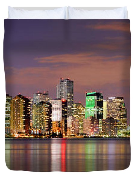 Miami Skyline At Dusk Sunset Panorama Duvet Cover by Jon Holiday
