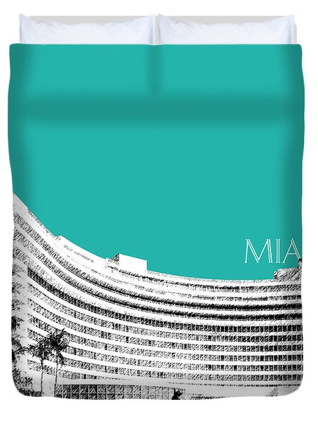 Miami Skyline Fontainebleau Hotel - Teal Duvet Cover