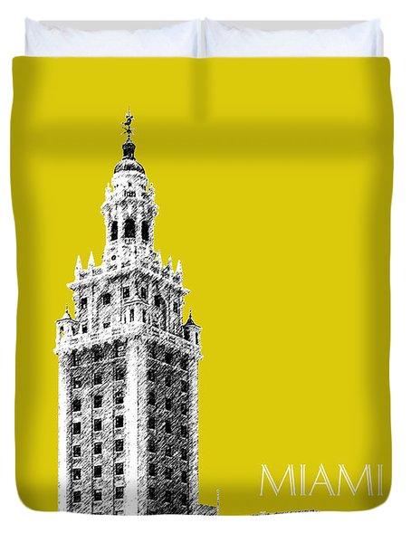 Miami Skyline Freedom Tower - Mustard Duvet Cover