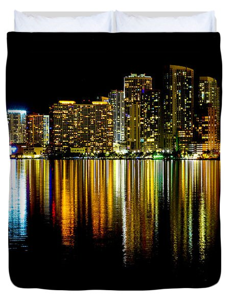 Miami Skyline II High Res Duvet Cover by Rene Triay Photography