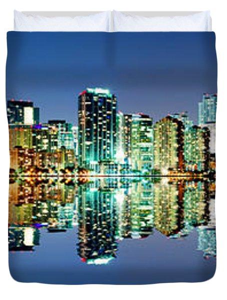 Miami Skyline Panorama Duvet Cover