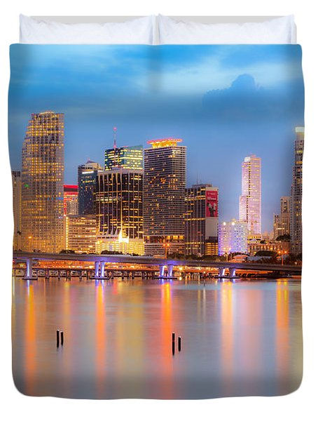 Miami Skyline On A Still Night- Soft Focus  Duvet Cover