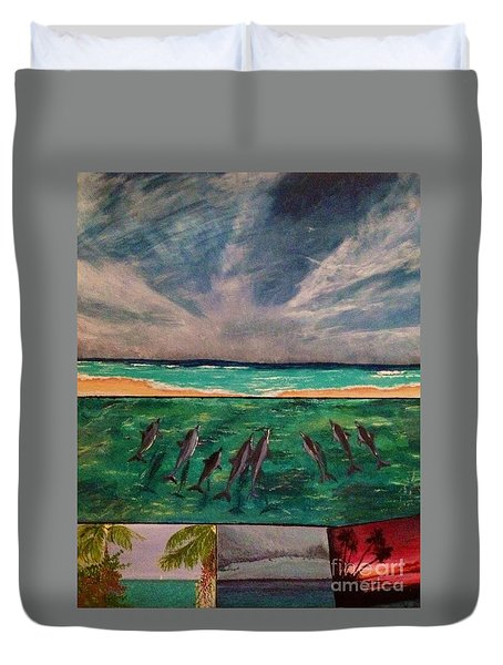 Duvet Cover featuring the painting Delfin by Vanessa Palomino