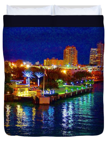 Miami Waterfront At Night - 5 Duvet Cover