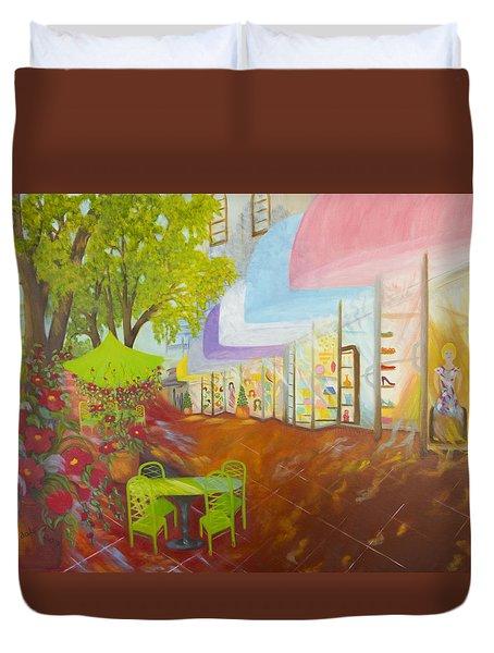 Miami's Coconut Grove Shops Duvet Cover by Douglas Ann Slusher