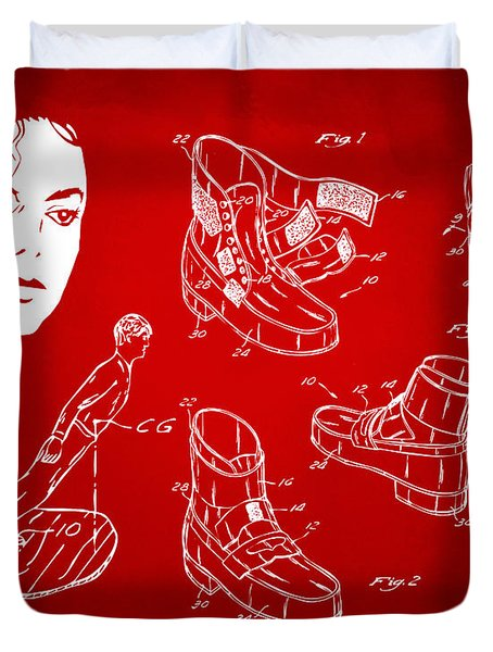 Michael Jackson Anti-gravity Shoe Patent Artwork Red Duvet Cover by Nikki Marie Smith