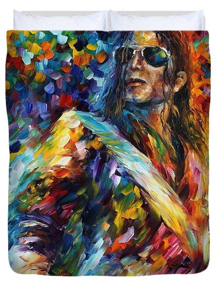Michael Jackson - Palette Knife Oil Painting On Canvas By Leonid Afremov Duvet Cover by Leonid Afremov