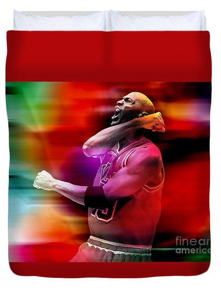 Michael Jordon Duvet Cover by Marvin Blaine