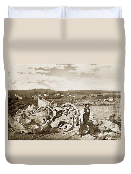 Michael Noon Sitting On A  Pile Of Whale Bones Monterey Wharf  Circa 1896 Duvet Cover