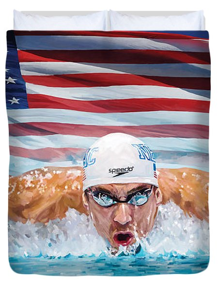 Michael Phelps Artwork Duvet Cover by Sheraz A