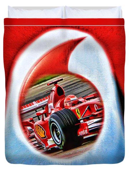 Michael Schumacher Though The Logo Duvet Cover by Blake Richards
