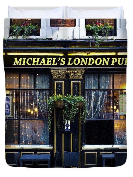 Michael's London Pub Duvet Cover by David Pyatt