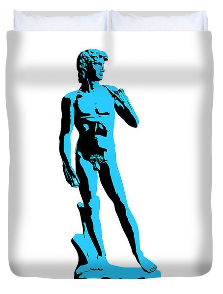 Michelangelos David - Stencil Style Duvet Cover by Pixel Chimp