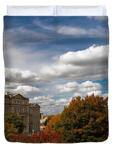 Michgan Capitol - Autumn Duvet Cover by Larry Carr