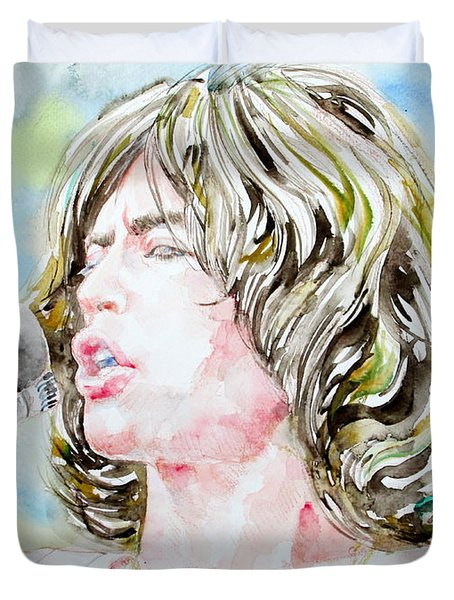 Mick Jagger Singing Watercolor Portrait Duvet Cover by Fabrizio Cassetta