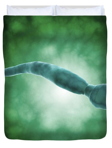 Microscopic View Of A Single Male Sperm Duvet Cover by Stocktrek Images