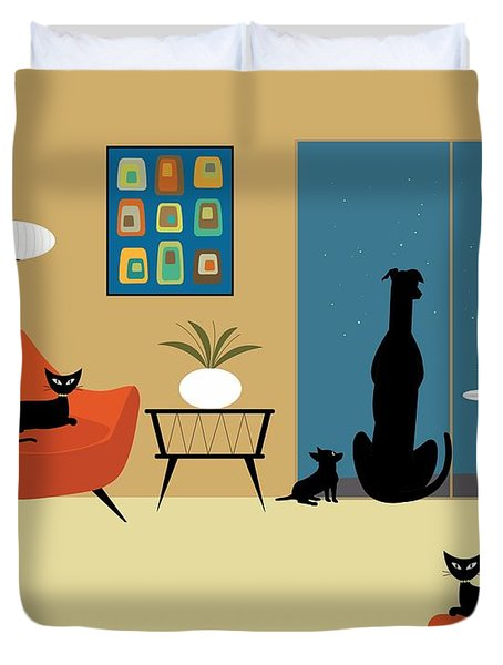 Mid Century Dogs And Cats Duvet Cover