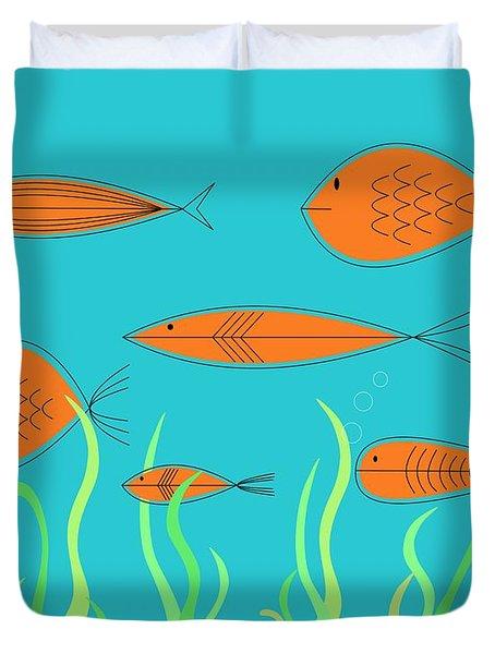 Mid Century Fish 2 Duvet Cover