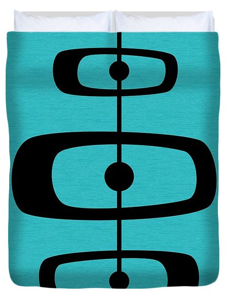 Mid Century Shapes 2 On Turquoise Duvet Cover