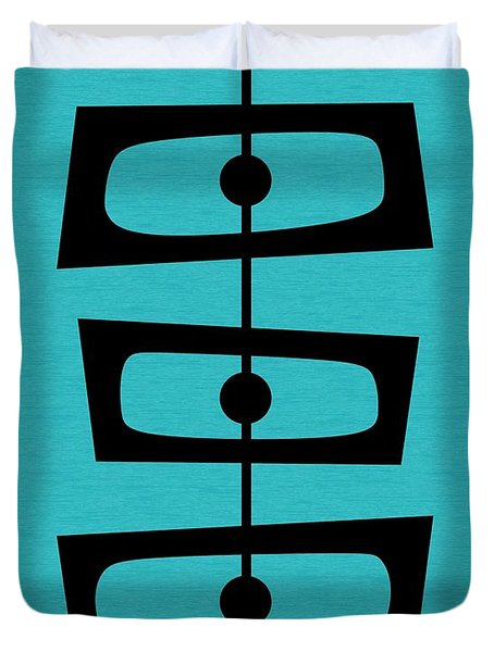 Mid Century Shapes On Turquoise Duvet Cover