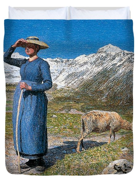 Midday On Alps On Windy Day Duvet Cover by Giovanni Segantini