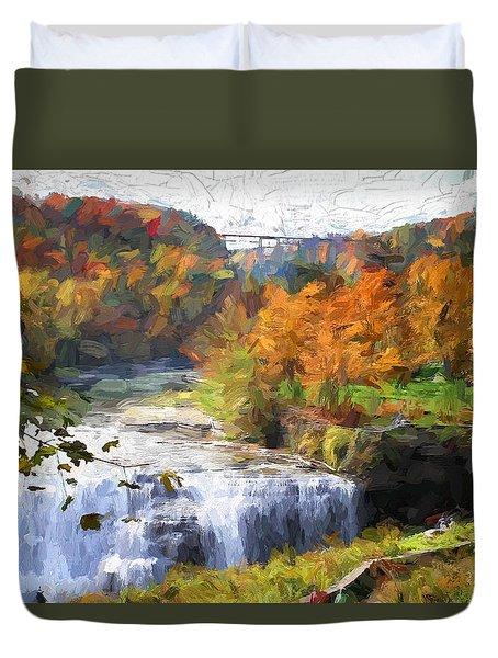 Middle Falls At Letchworth State Park Duvet Cover by John Freidenberg