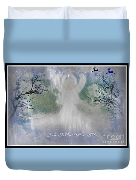 Duvet Cover featuring the digital art Midnight Angel Of Peace by Sherri  Of Palm Springs