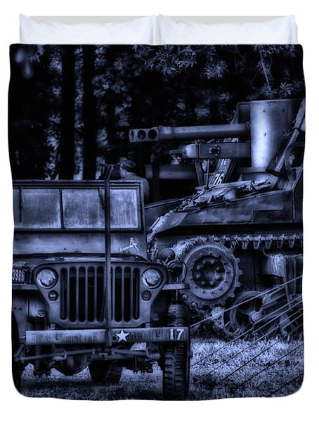 Midnight Battle And All Is Quite On The Front Lines Duvet Cover by Thomas Woolworth