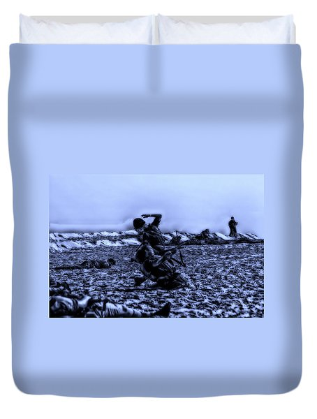 Midnight Battle Men Down Duvet Cover by Thomas Woolworth