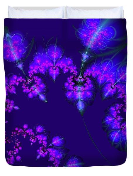 Duvet Cover featuring the digital art Midnight Blossoms by Judi Suni Hall