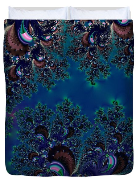 Midnight Blue Frost Crystals Fractal Duvet Cover