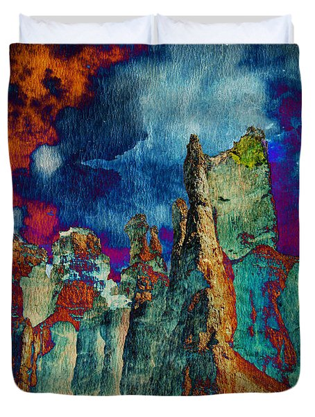 Midnight Fires Duvet Cover by Meghan at FireBonnet Art