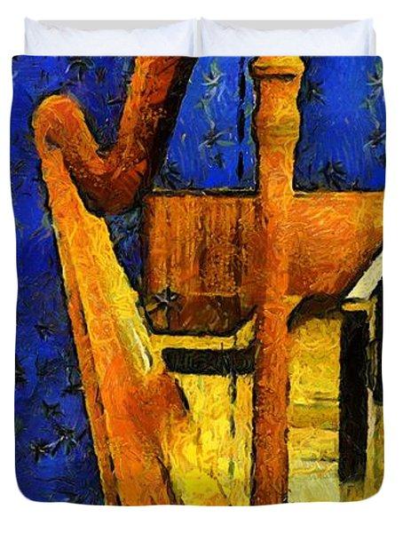 Midnight Harp Duvet Cover by RC DeWinter