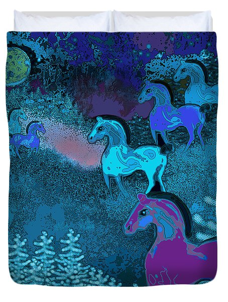Midnight Horses Duvet Cover by Carol Jacobs