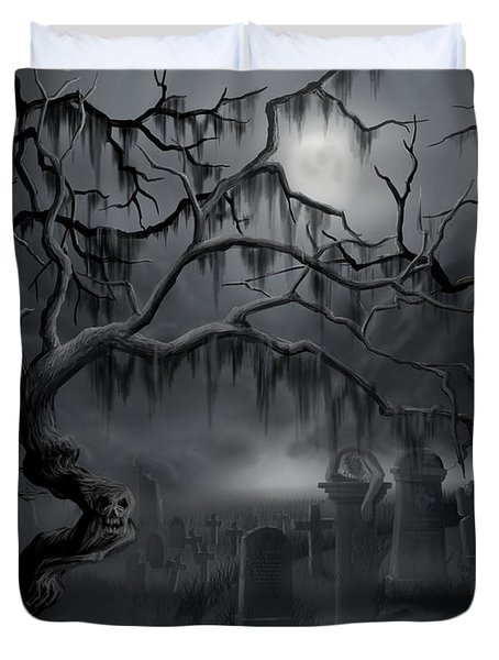 Midnight In The Graveyard  Duvet Cover
