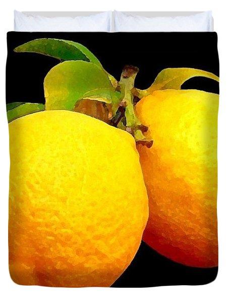 Midnight Lemons Duvet Cover
