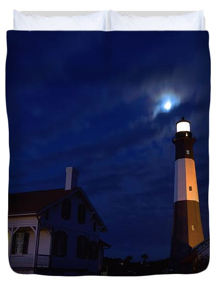 Midnight Moon Over Tybee Island Duvet Cover
