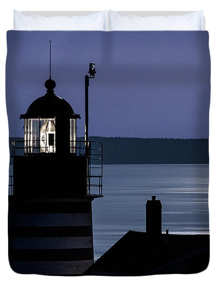 Duvet Cover featuring the photograph Midnight Moonlight On West Quoddy Head Lighthouse by Marty Saccone