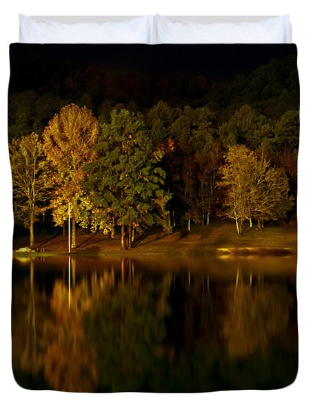 Midnight On The Lake Duvet Cover by Linda Unger