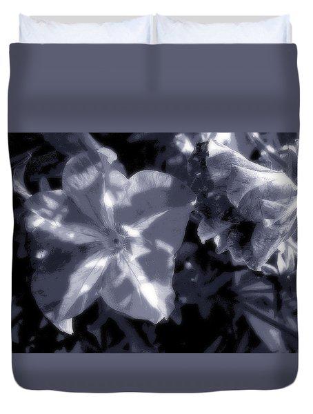 Midnight Petunias Duvet Cover