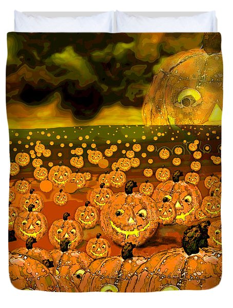 Midnight Pumpkin Patch Duvet Cover by Carol Jacobs