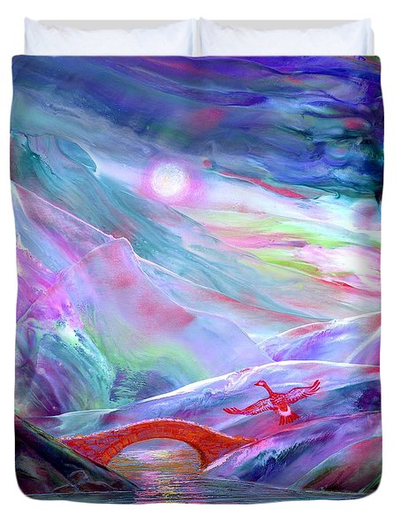 Duvet Cover featuring the painting   Midnight Silence, Flying Goose by Jane Small
