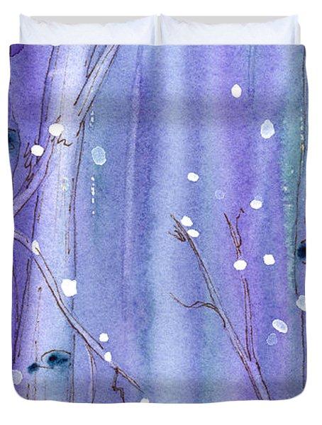 Midnight Snow In The Aspens Duvet Cover