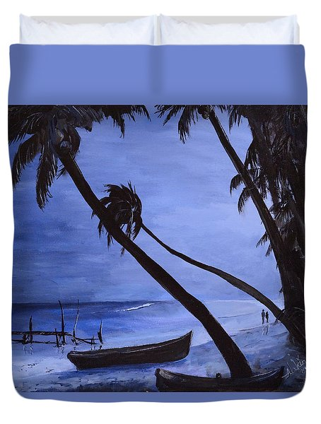 Duvet Cover featuring the painting Midnight Stroll In Paradise by Alan Lakin